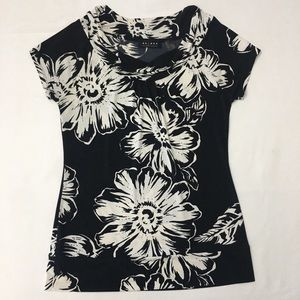 Axcess floral black and white blouse